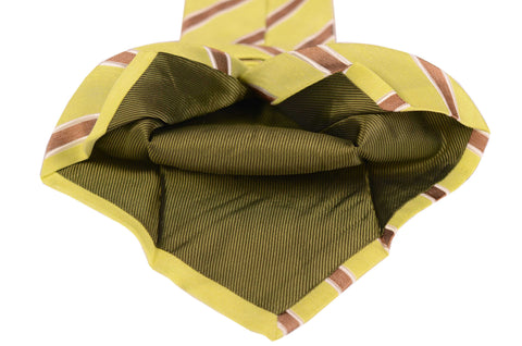KITON Napoli Hand-Made Seven Fold Green-Brown Striped Silk Tie NEW - SARTORIALE - 2
