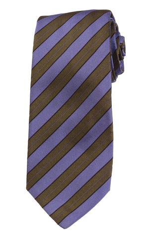 KITON Napoli Hand-Made Seven Fold Green-Purple Diagonal Striped Silk Tie NEW - SARTORIALE - 1