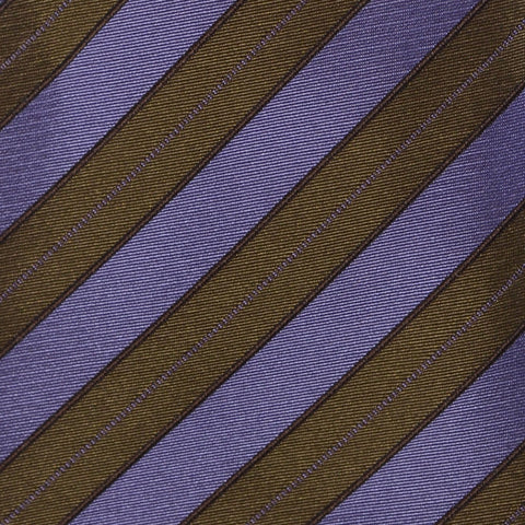 KITON Napoli Hand-Made Seven Fold Green-Purple Diagonal Striped Silk Tie NEW - SARTORIALE - 4