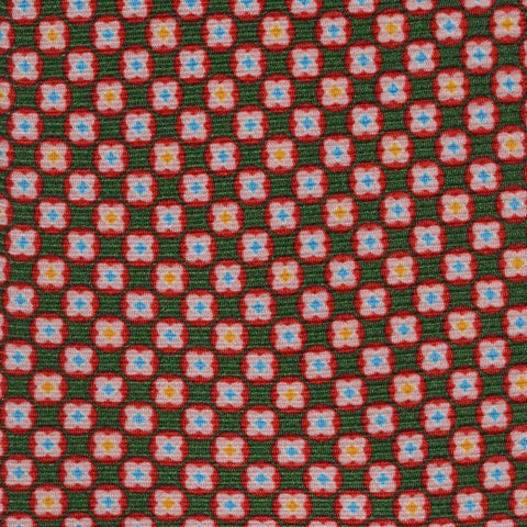 KITON Napoli Hand-Made Seven Fold Green-Red Floral Medallion Silk Tie NEW