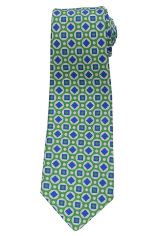 KITON Napoli Hand-Made Seven Fold Green Circle Medallion Silk Tie NEW