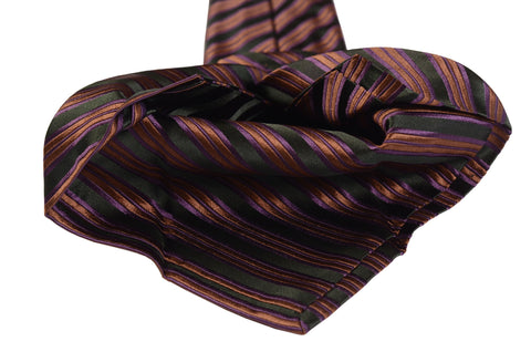 KITON Napoli Hand-Made Seven Fold Green Diagonal Striped Silk Tie NEW