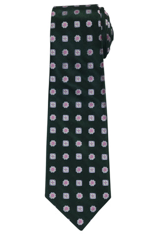 KITON Napoli Hand-Made Seven Fold Green Floral Silk Tie NEW