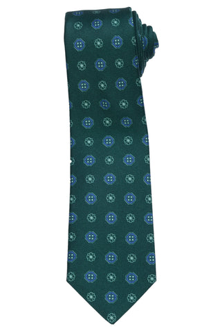 KITON Napoli Hand-Made Seven Fold Green Flower-Medallion Silk Tie NEW