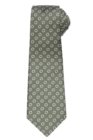 KITON Napoli Hand-Made Seven Fold Green Medallion Silk Tie NEW