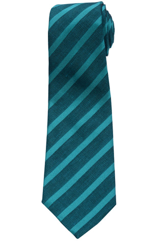 KITON Napoli Hand-Made Seven Fold Green Narrow-Striped Silk Tie NEW