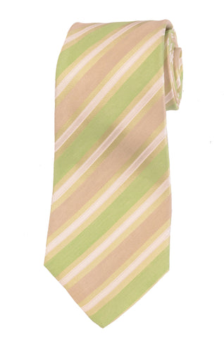 KITON Napoli Hand-Made Seven Fold Green Rope Striped Silk Tie NEW - SARTORIALE - 1