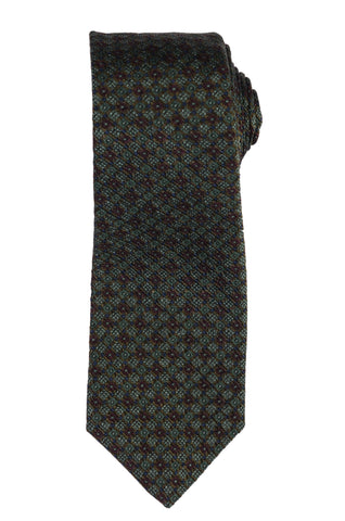 KITON Napoli Hand-Made Seven Fold Green Silk Tie NEW