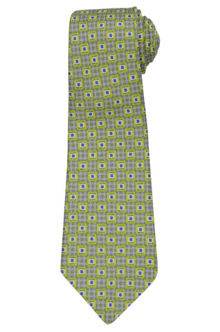 KITON Napoli Hand-Made Seven Fold Green Square Medallion Silk Tie NEW