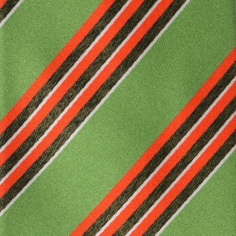 KITON Napoli Hand-Made Seven Fold Green Striped Silk Tie NEW