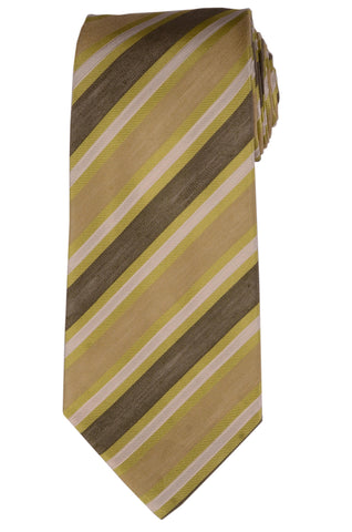 KITON Napoli Hand-Made Seven Fold Green Striped Silk Tie NEW - SARTORIALE - 1