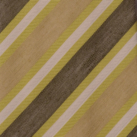 KITON Napoli Hand-Made Seven Fold Green Striped Silk Tie NEW - SARTORIALE - 4
