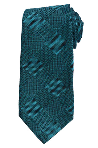 KITON Napoli Hand-Made Seven Fold Green Textured Plaid Silk Tie NEW