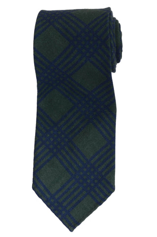 KITON Napoli Hand-Made Seven Fold Green Wool-Silk Plaid Unlined Tie NEW