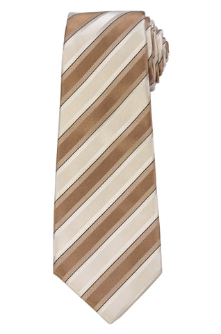 KITON Napoli Hand-Made Seven Fold Ivory-Brown Striped Silk Tie NEW