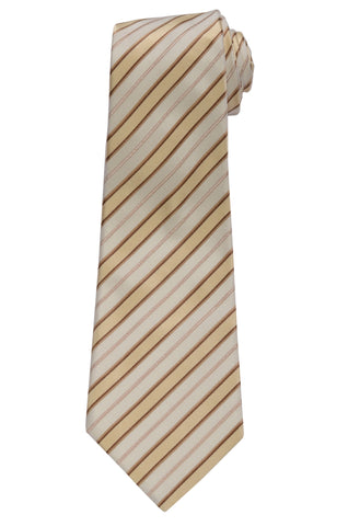 KITON Napoli Hand-Made Seven Fold Ivory-Gold Striped Silk Tie NEW