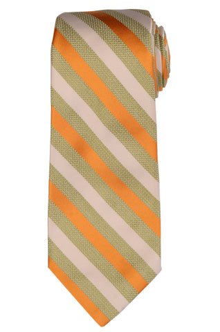 KITON Napoli Hand-Made Seven Fold Ivory-Green-Orange Striped Silk Tie NEW - SARTORIALE - 1
