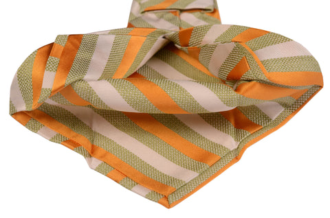 KITON Napoli Hand-Made Seven Fold Ivory-Green-Orange Striped Silk Tie NEW - SARTORIALE - 2