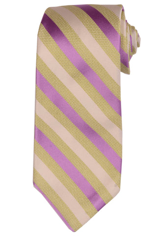 KITON Napoli Hand-Made Seven Fold Ivory-Green-Purple Striped Silk Tie NEW - SARTORIALE - 1