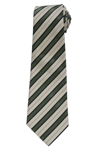 KITON Napoli Hand-Made Seven Fold Ivory-Green Striped Silk Tie NEW