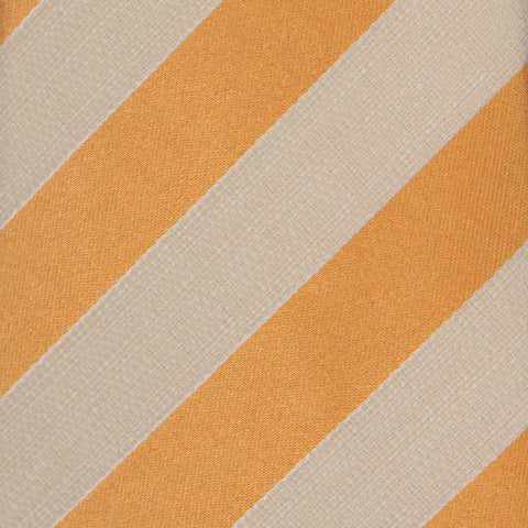 KITON Napoli Hand-Made Seven Fold Ivory-Orange Striped Silk Tie NEW