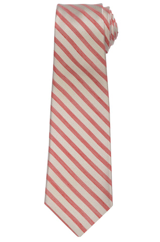 KITON Napoli Hand-Made Seven Fold Ivory-Red Striped Silk Tie NEW