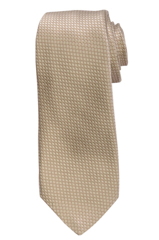 KITON Napoli Hand-Made Seven Fold Ivory Beige Plain Weave Silk Tie NEW