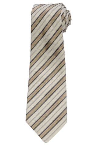 KITON Napoli Hand-Made Seven Fold Ivory Diagonal-Striped Silk Tie NEW