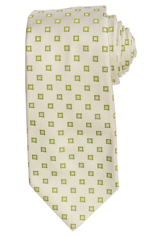 KITON Napoli Hand-Made Seven Fold Ivory Medallion Floral Silk Tie NEW