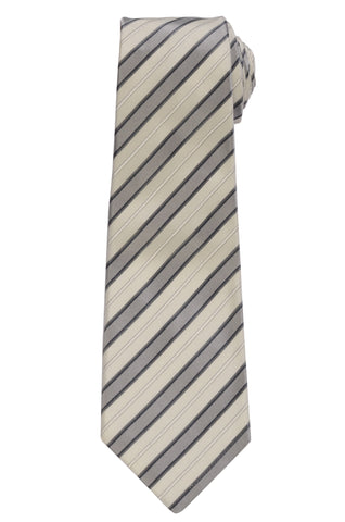 KITON Napoli Hand-Made Seven Fold Ivory Striped Silk Tie NEW