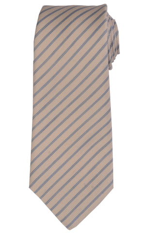 KITON Napoli Hand-Made Seven Fold Ivory Striped Silk Tie NEW - SARTORIALE - 1
