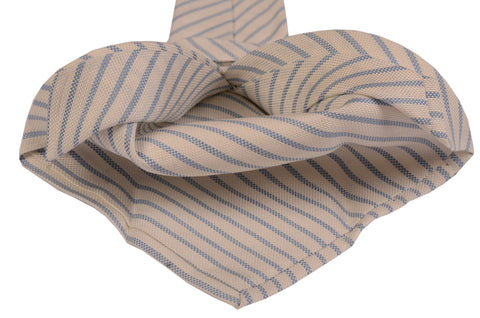KITON Napoli Hand-Made Seven Fold Ivory Striped Silk Tie NEW - SARTORIALE - 2