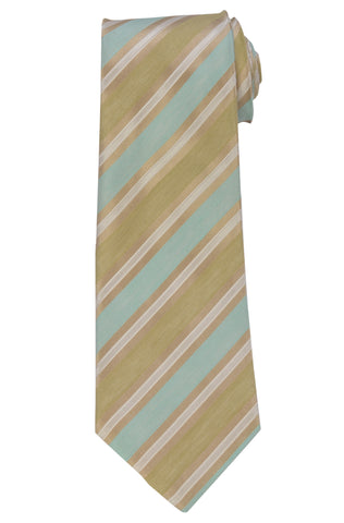 KITON Napoli Hand-Made Seven Fold Light Blue-Green Striped Silk Tie NEW