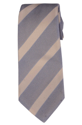 KITON Napoli Hand-Made Seven Fold Light Blue Striped Silk Tie NEW - SARTORIALE - 1