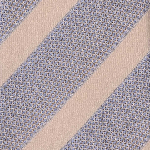 KITON Napoli Hand-Made Seven Fold Light Blue Striped Silk Tie NEW - SARTORIALE - 4