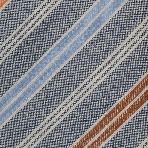 KITON Napoli Hand-Made Seven Fold Light Blue Textured Striped Silk Tie NEW