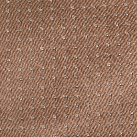 KITON Napoli Hand-Made Seven Fold Light Brown Pin-Dot Silk Tie NEW
