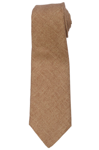 KITON Napoli Hand-Made Seven Fold Light Brown Textured Cashmere-Silk Tie NEW