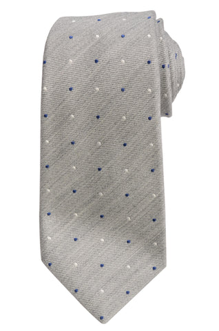 KITON Napoli Hand-Made Seven Fold Light Gray Polka-Dot Silk Tie NEW