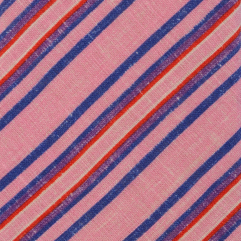 KITON Napoli Hand-Made Seven Fold Light Pink Diagonal Striped Linen Tie NEW - SARTORIALE - 4