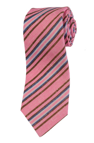 KITON Napoli Hand-Made Seven Fold Light Pink Striped Linen Tie NEW - SARTORIALE - 1