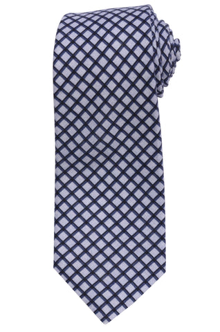 KITON Napoli Hand-Made Seven Fold Light Purple Plaid Silk Tie NEW