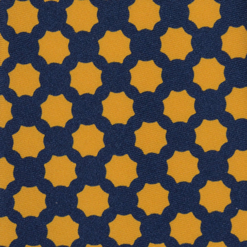 KITON Napoli Hand-Made Seven Fold Navy Blue-Yellow Geometric Silk Tie NEW