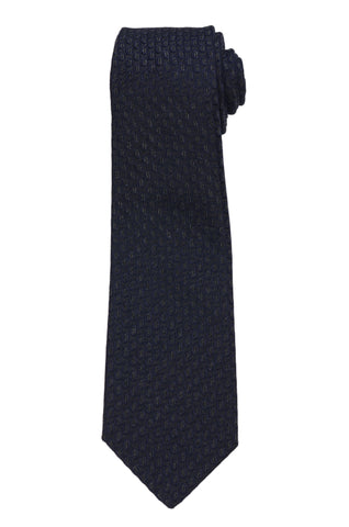 KITON Napoli Hand-Made Seven Fold Navy Blue Coffee-Bean Silk Tie NEW