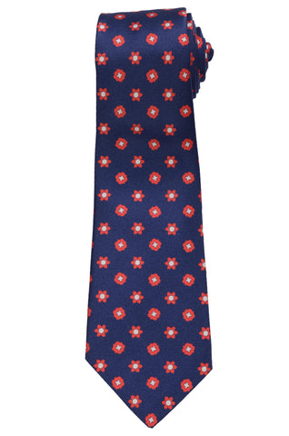 KITON Napoli Hand-Made Seven Fold Navy Blue Floral Medallion Silk Tie NEW