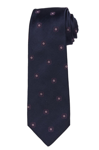 KITON Napoli Hand-Made Seven Fold Navy Blue Floral Silk Tie NEW