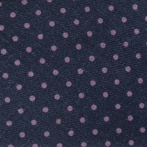 KITON Napoli Hand-Made Seven Fold Navy Blue Polka-Dot  Wool-Silk Tie NEW