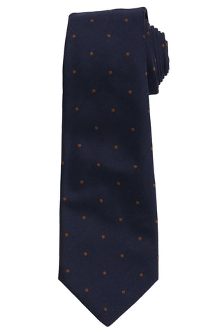 KITON Napoli Hand-Made Seven Fold Navy Blue Printed Dot Silk Tie NEW