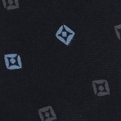 KITON Napoli Hand-Made Seven Fold Navy Blue Square Medallion Silk Tie NEW