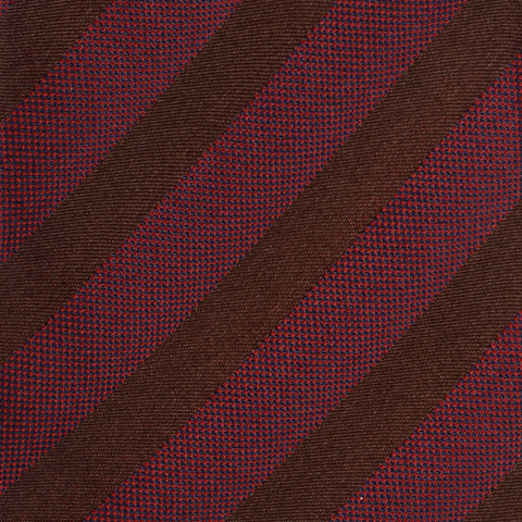 KITON Napoli Hand-Made Seven Fold Navy Burgundy-Brown Striped Silk Tie NEW